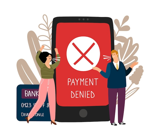 Fout bij online betaling. boze mensen en geweigerd betaling vector concept
