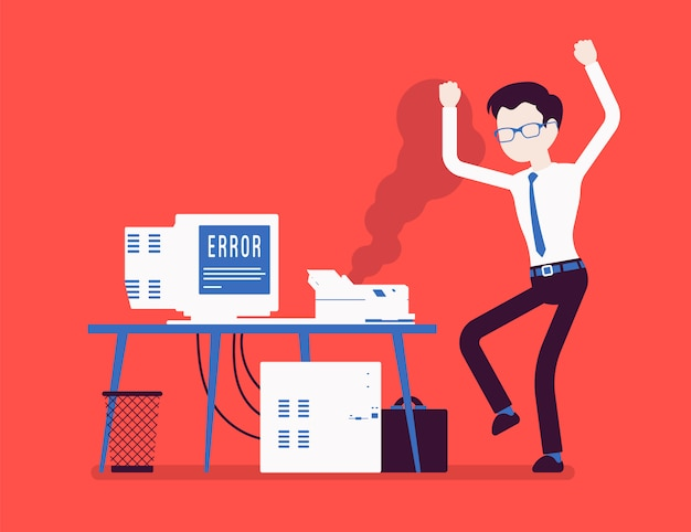 Fout met office-printer. boze werknemer die ergernis, ongenoegen met slecht werkend oud beschadigd apparaat op het werk voelt, benadrukt met niet functionerende computer. illustratie met gezichtsloze karakters