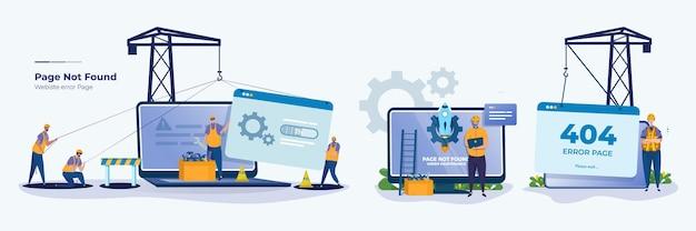 Fout website onder technicus onderhoud illustratie set concept