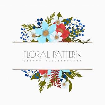 Fower page boarders - rode, lichtblauwe, witte bloemen