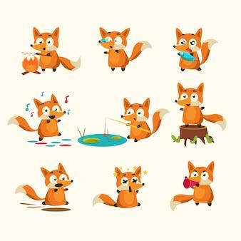 Fox-activiteiten met verschillende emoties. reeks