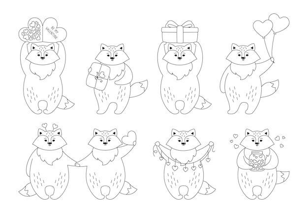 Fox cartoon zwarte lineaire set. grappig dierlijk karakter met harten, ballongift