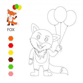 Fox cute cartoon, kleurboek