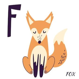 Fox dierlijk alfabet. hand tekenen bos dieren in scandinavische stijl. leren letter f. f is voor egel. alfabet serie az. vectorbeeldverhaalillustratie voor het alfabet van kinderen.