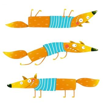 Fox dierlijke karakter in kleding cartoon set