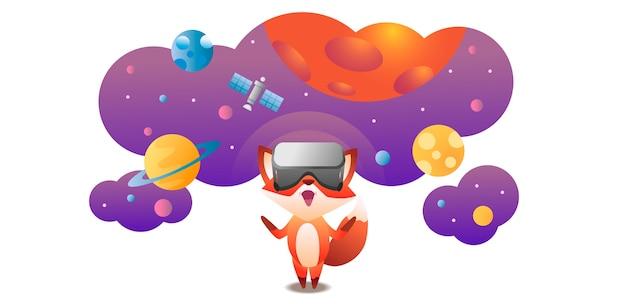 Fox draagt virtual reality headset