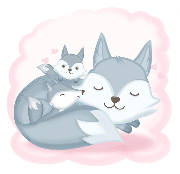 Fox familie in slaap hand getrokken illustratie