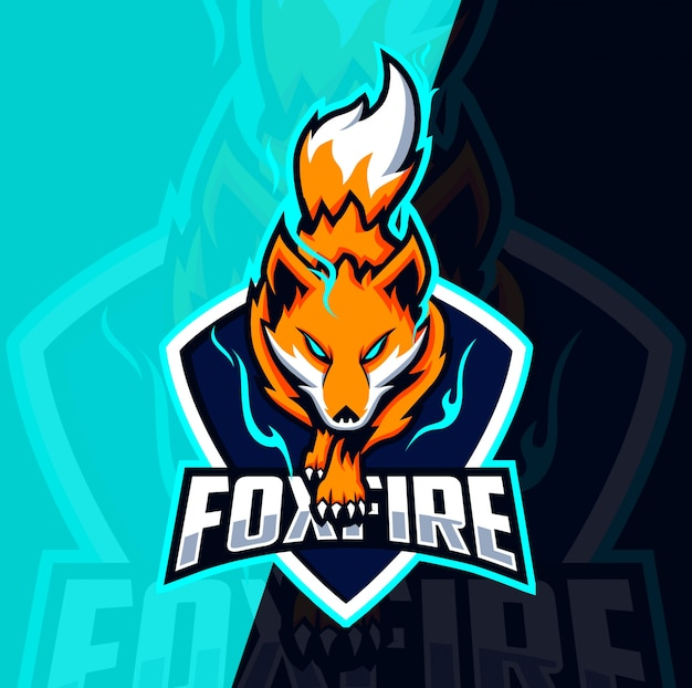 Fox fire mascotte esport logo ontwerp