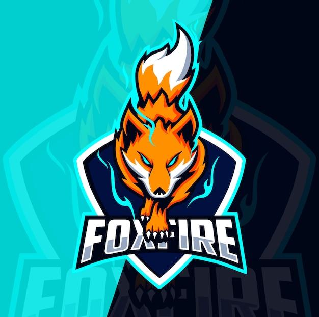Fox fire mascotte esport logo ontwerp