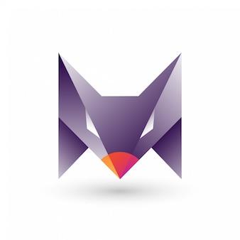 Fox head-logo met abstracte letter m