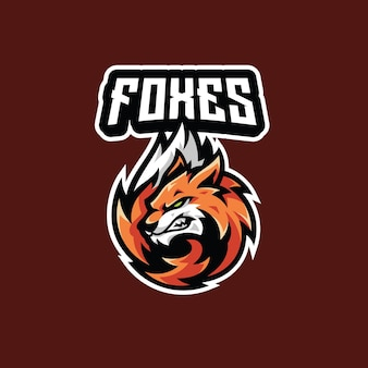 Fox head tail fur mascot voor esport gaming logo design