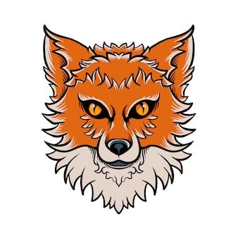 Fox hoofd hand getrokken illustratie