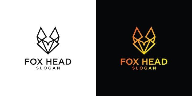 Fox hoofd unieke elementen logo-ontwerp