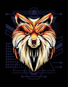 Fox hoofd vector illustratie. geschikt voor t-shirt, print en kleding