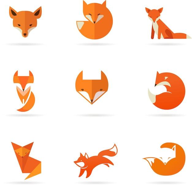 Fox iconen illustraties en elementen