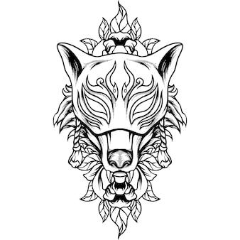 Fox kitsune-masker silhouet