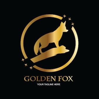 Fox-logo in goudkleur Premium Vector