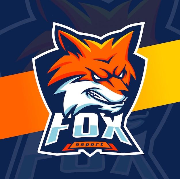 Fox mascotte esport logo ontwerp