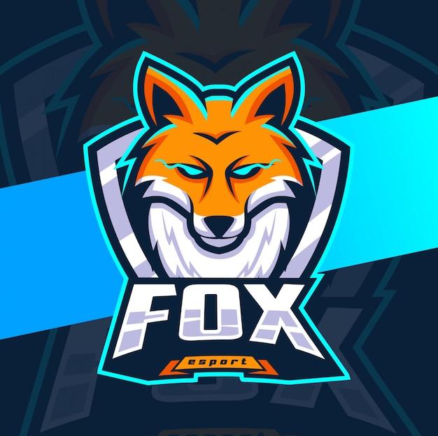 Fox mascotte esport logo ontwerpen