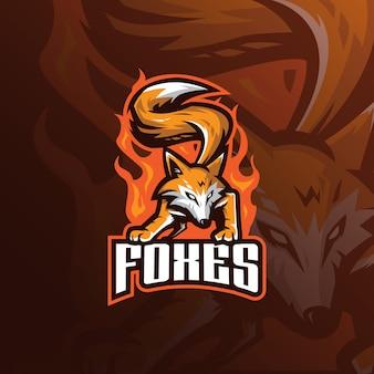 Fox mascotte logo met moderne illustratie