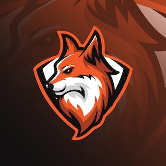 Fox-mascotte-logo met moderne illustratiestijl voor afdrukken van insignes, embleem en t-shirts.