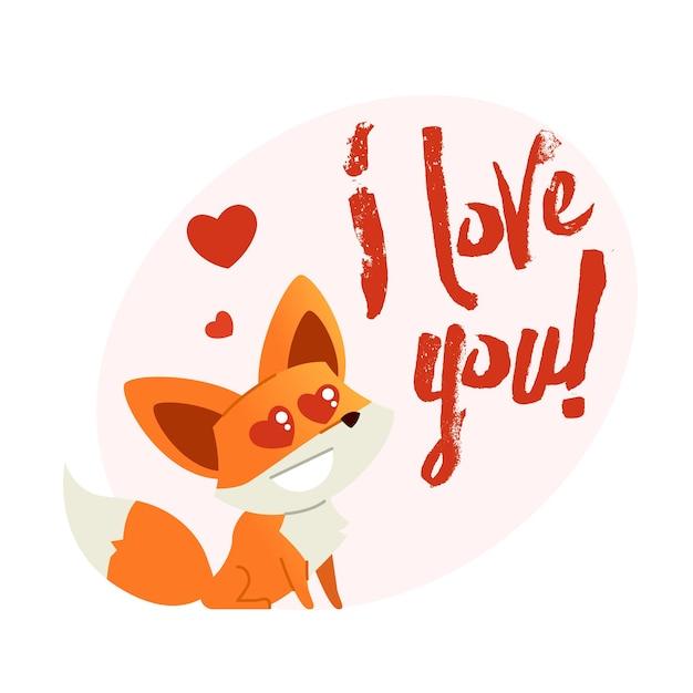 Fox - moderne zin vlakke vectorillustratie. dierlijke stripfiguur. geschenkafbeelding van een vos die zegt dat ik van je hou.