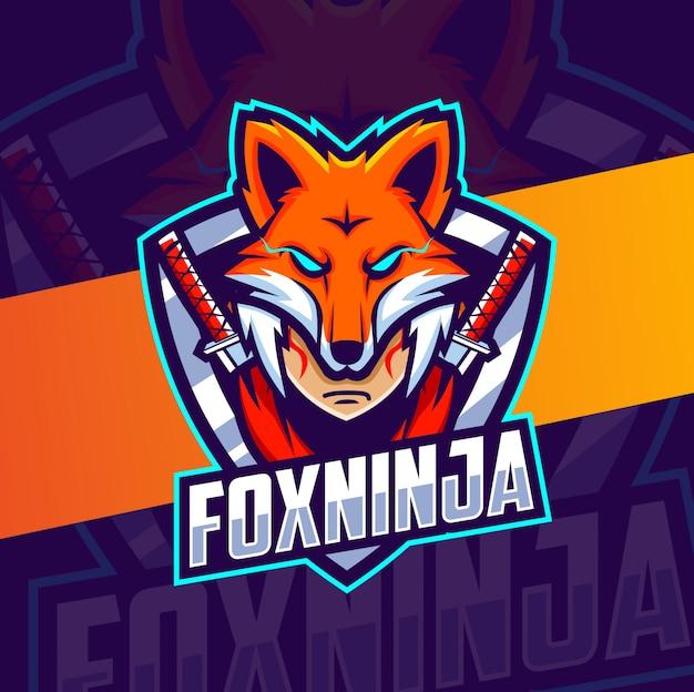 Fox ninja hoofd mascotte, esport logo ontwerp