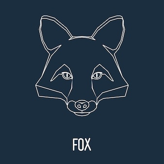 Fox portret getekend in één doorlopende lijn geïsoleerd op stijlvolle donkere achtergrond voor gebruik in ontwerp voor kaart, uitnodiging, poster, spandoek, plakkaat, billboard cover