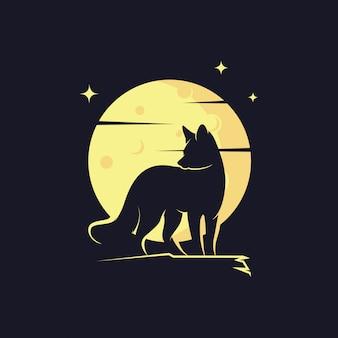 Fox silhouet tegen maan