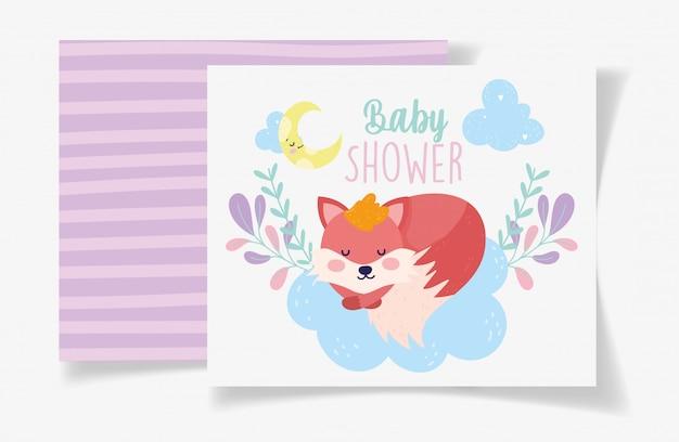 Fox slaap maan gebladerte decoratie baby shower kaart
