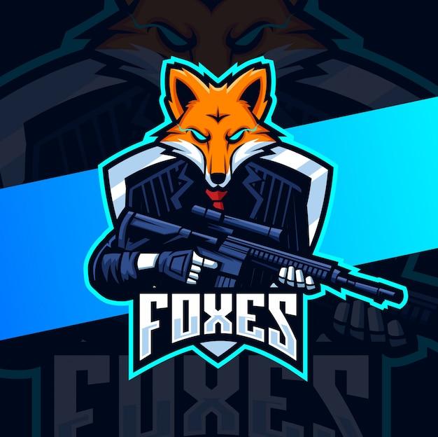 Fox squad met geweer mascotte esport logo