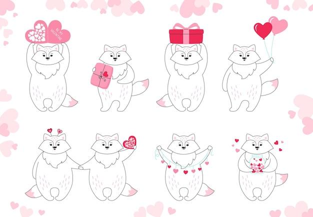Fox tekenfilm verzameling. hand getrokken doodle grappige dieren karakter met hartjes, ballon, cadeau en pakket