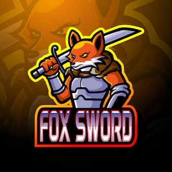 Fox zwaard esport logo mascotte ontwerp