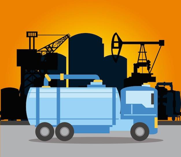 Fracking booreiland vrachtwagen tank en pijpleiding illustratie