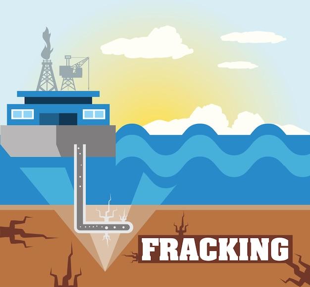 Fracking hydraulisch proces met booreiland en brandstofillustratie