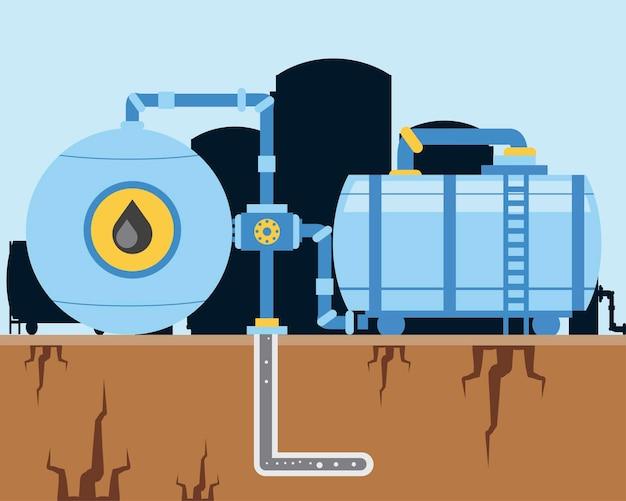Fracking olie-industrie machines pomp en pijpleiding exploratie illustratie