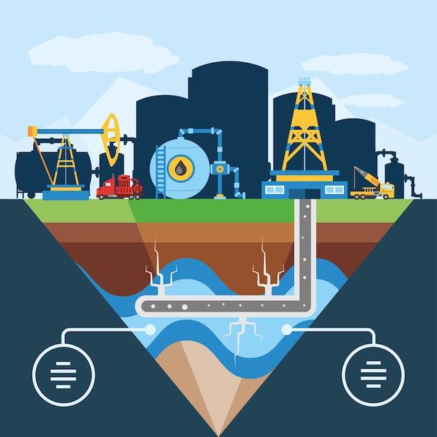Fracking schematisch diagram van hydraulische put voor illustratie van oliereservoir