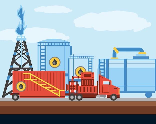 Fracking toren olie- en gasboringen industrie vrachtwagen en tanks illustratie