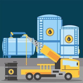Fracking truck zelfrijdende booreiland machines en olievat illustratie