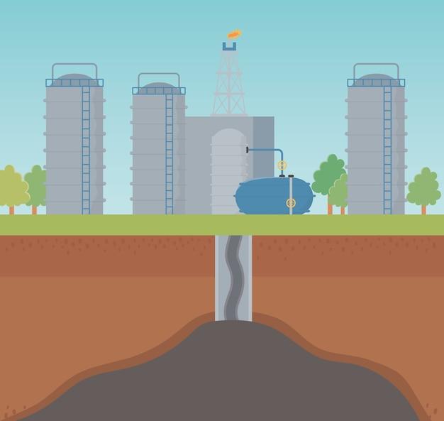 Fracking van het olie-extractieproces in de fabriek