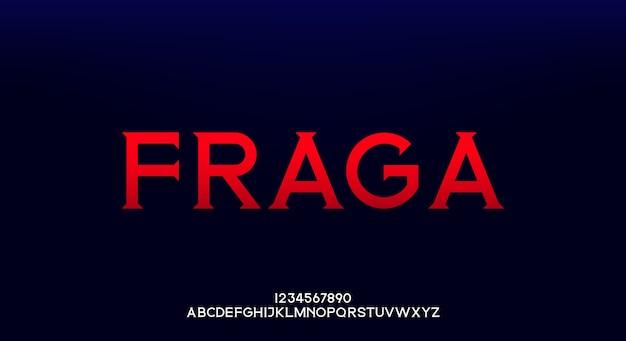 Fraga, een elegant alfabet lettertype en nummer. hoofdletters modeontwerp typografie.