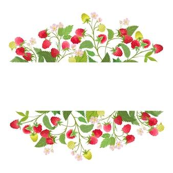 Frambozen bloemenkrans met aquarel fruit bessen, bloemen, bladeren. vector zomer vintage banner illustratie. bruiloft moderne uitnodiging, trendy wenskaart, luxe design