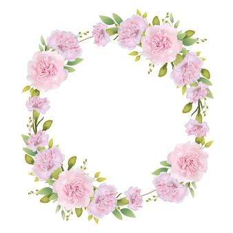 Frame achtergrond bloemen met roze anjers