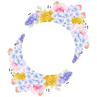Frame achtergrond bloemen met rozen en hortensia's