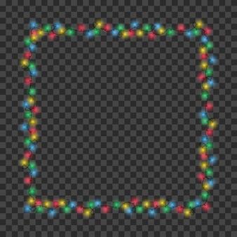 Frame gemaakt van kerstlichtslinger kleur vierkante randslingers voor vakantiedecoratie