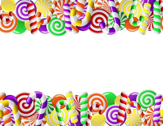 Frame gemaakt van kleurrijke snoepjes. naadloos patroon