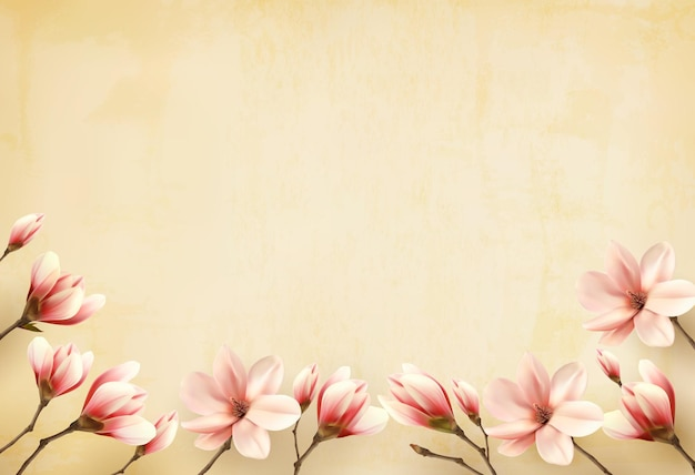 Frame gemaakt van magnolia bloemen.