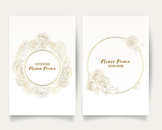 Frame hand getrokken rose gouden bloem floral ornament