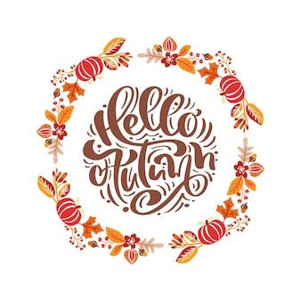 Frame herfst boeket krans. oranje bladeren