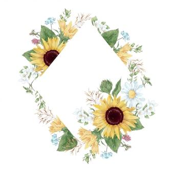 Frame in digitale aquarel stijl van zonnebloemen en madeliefjes